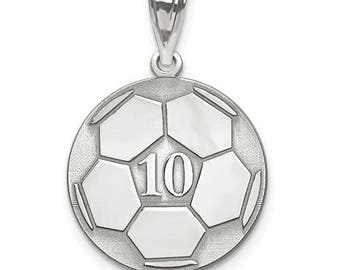 """Personalized Sterling Silver Free Name And Number Laser-Engraved Soccer Pendant Charm 1"""" x 1"""" Free 16,18 or 20"""" Sterling Silver Box Chain."""