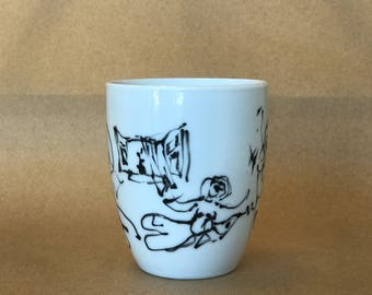 Coffee Tea Mug with Artists Original Sketch