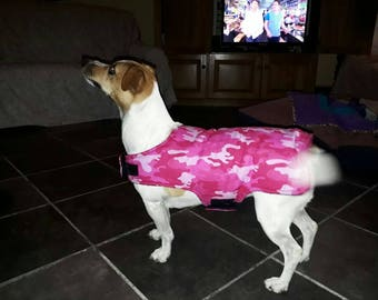 Reversible Pink Camo Dog Jacket