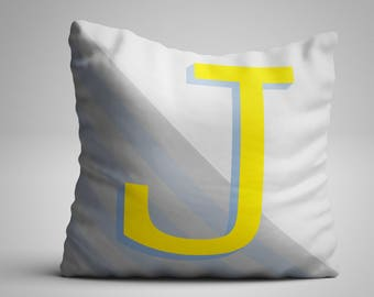 Custom Personalised Letter Pillow - Grey and Yellow - Made to order! An ideal gift for her