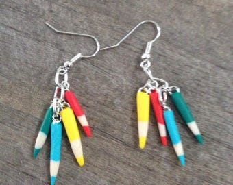 Earrings small colored pencils.
