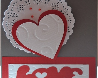 Hand made Love red and white card