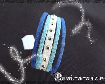 """Suede Cuff Bracelet tricolor """"Elsa"""""""