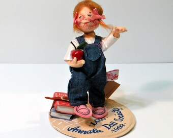 Whimsical Annalee School Girl Doll | Apple Books | Logo Annalee Doll Society 1992 | Tomboy Denim Overalls Red Hair, Pink Bows | Original Tag
