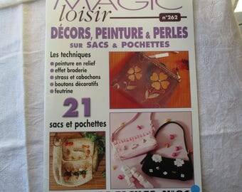 paper beads and rhinestones on bags and pouches