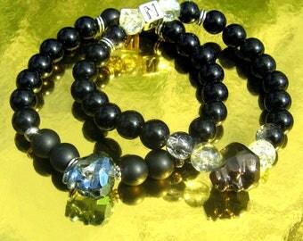 Bracelets couple de luxe, Crâne SWAROVSKI noir & Bleu, personnalisé pierre Onyx et cristal de guerison, cadeau St VALENTINE  couple