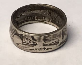 1947 Walking Liberty Coin Ring with Black Patina SALE SALE