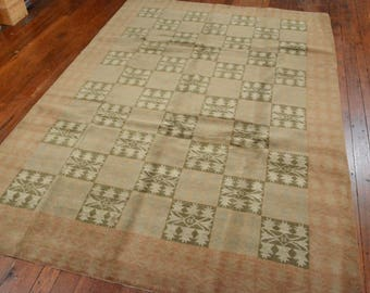 Authentic Nepalese Oriental Rug, 6'x9', Green/Brown, All wool pile