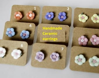 Handmade Rose ceramic earrings 8 color birthday mother's day wedding anniversary party friendship thanksgiving Christmas dating gift for her