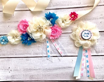 Baby Shower Maternity Sash Dad to be Corsage Pink Blue Reveal Party Sash Belly Sash Dad Corsage