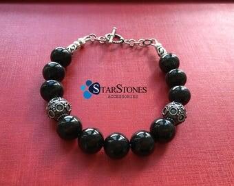 Bracelet Gagat Jet Healing Gemstone  Silver Beadwork  Jewelry