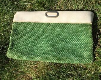 1960's grass green clutch with wrist strap.