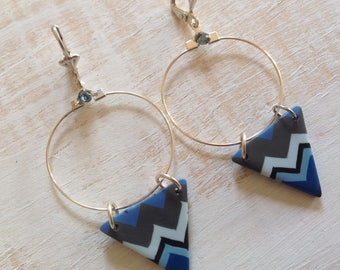 Seasoned with polymer clay triangle and hoop earrings
