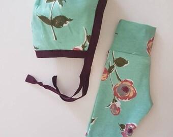 Soft Vintage baby Bonnet/Headband/Legging  Set