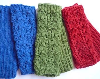 Wrist Warmers / Fingerless gloves. Hand Spun. Hand Knit. Merino Wool