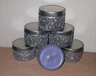 4 oz Glitter tin candles!!!! Set of 6.