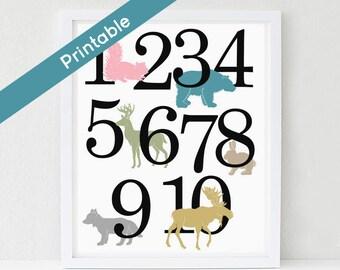 Woodland Number Poster, Printable Nursery Art, Girl, ABC,  Deer, Bear, Moose, Fox Instant download