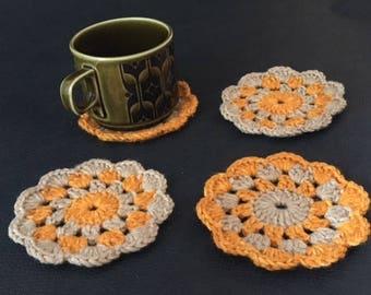 set of 4 orange and oatmeal coasters