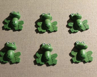 Set of six green frogs