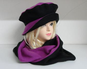 black and plum or purple and Black Hat + reversible fleece snood