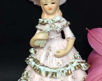 Geo Z Lefton Southern Belle Figurine Pink  Lace Ceramic KW10367