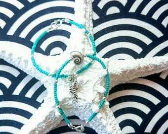 SALE two turquoise teal bracelets seed beads | sea shell ammonite and seahorse charm summer fashion boho bracelet small 17 cm UK
