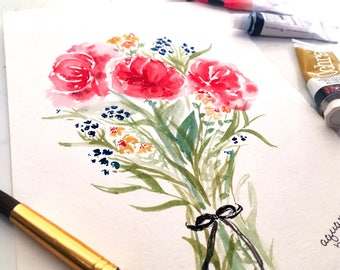 Watercolor floral bouquet (original art)