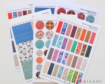 Small vintage patterned stickers