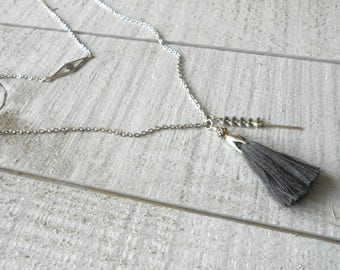 Grey multi row, charcoal grey tassel and chain enamel spike necklace