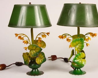 Pair of Vintage Italian Tole Lamps, circa 1940-50