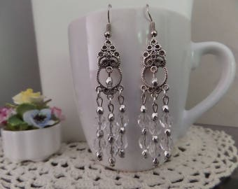 "Earrings, unique, ""Baroque Style"" Crystal / silver, swarovski crystal faceted beads and faceted silver beads."