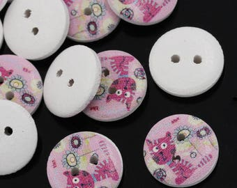 8 buttons wooden cats and flowers