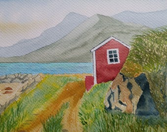 Original norwegian watercolor landscape
