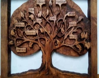 Carved family tree