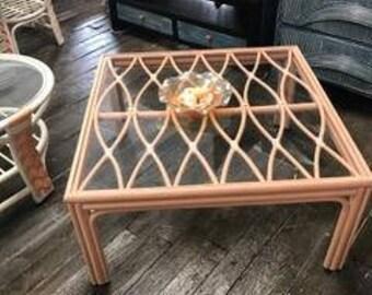 Rattan Bamboo Square Coffee Table