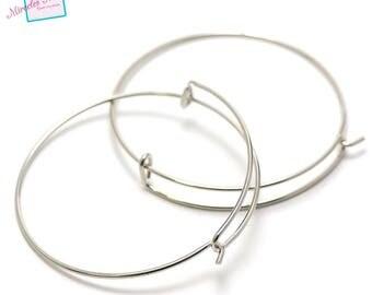 """4 brackets bracelet """"Bangle half crochet"""", silver"""