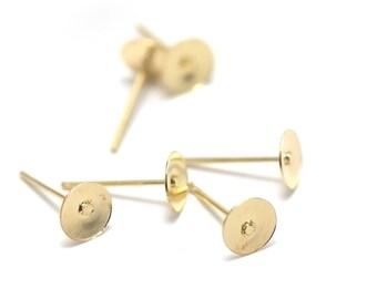 100 chips Stud 6mm gold flat brackets