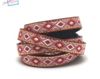 """1 m strap leather 10 x 2 mm """"arabesque"""", Red"""