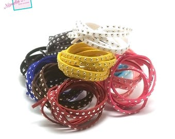 """6 x 1 meter suede """"studded"""", 5 x 2 mm, assortment of colors"""