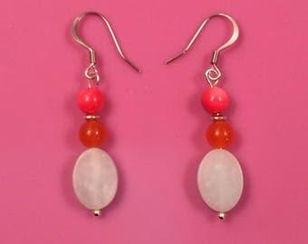 Amazonite, Orange Quartzite and Purple-Pink Rivershell Earrings