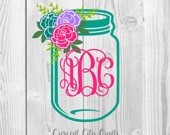 Flower mason jar monogram decal, mason jar decal, mason jar with flowers, yeti decal