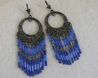 Blue seed beads earring