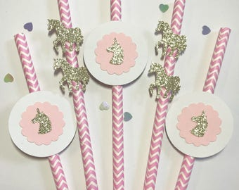 Unicorn Party Straws, Glitter Card, Party Decoration, Birthday, Baby Shower, straws, Baby Pink