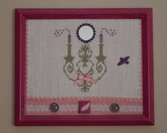 table candlestick cross-stitch, ecru, taupe, and fuchsia beads.