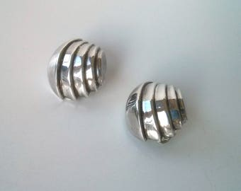 """Deco style sterling silver earrings -- vintage modern design -- unusual """"un-mirrored"""" couple"""