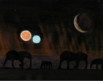 Elephants - Original Artwork - Print