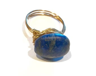Lapis Lazuli Stone, hand wrapped ring, casual jewelry, size 6