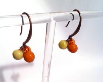 Small Stud Earrings in Orange tones