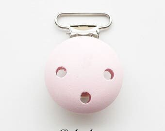 Clip / wooden pacifier Clip, from 25 mm: pastel pink