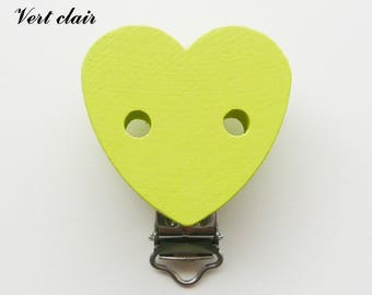 Clamp / Clip wooden heart shaped, pacifier, buckle, light green
